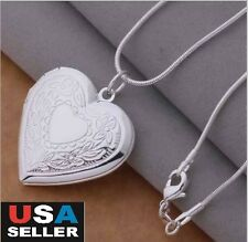 Wholesale 925 Sterling Silver Necklace, Locket Heart Photo Pendant 18""