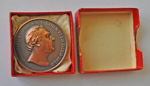 ROYAL HORTICULTURAL SOCIETY, SIR JOSEPH BANKS, 39mm BRONZE MEDAL 1955, CASED UNC
