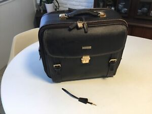 Brooks Brothers Black Pebbled Leather Travel/ Laptop Bag with Wheels carry-on
