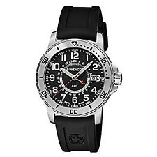 Wenger 01.1342.101 Men's Off Road GMT Black Dial Silicone Strap Wrist Watch NEW
