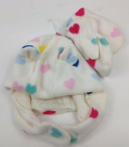 Baby Gap Girls Ivory Pastel Heart Fleece Hat Mittens Choose 6-12 or 12-18months