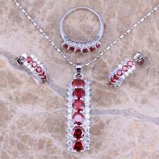 Women 925 Silver Ruby Topaz Pendant Necklace Earrings Rings Jewelry Set Wedding