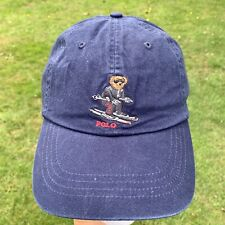 Vintage Retro POLO BEAR, RALPH LAUREN Baseball Cap Hat - Blue Ski Bear NEW