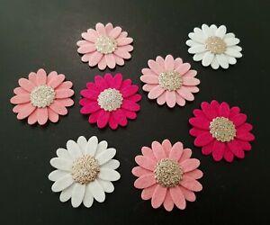 × 8 Felt Flower Embellishments. Die cuts