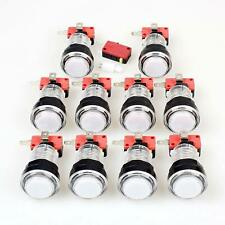 10x New LED lit Arcade Push Buttons With Micro Switch Mame Jamma White Color 12V