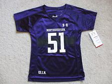 ☀️ NEW UNDER AMOUR Northwestern Wildcats Girls Purple Football Jersey Size Sz 6X
