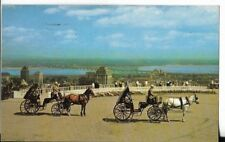 french horse drawn carriages on mount royal,quebec, canada postcard  1962