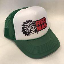 Red Man Tobacco Trucker Hat Old Chew Logo! Vintage Snapback Cap! Green Indian