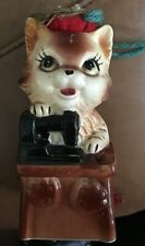 Vintage Cat Pin Cushion With Tape Measure Porcelain Sewing WALES Japan