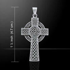 Celtic Cross Large .925 Sterling Silver Pendant by Peter Stone
