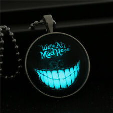 Cool Punk Glow in the Dark Smile Face Pendant Necklace Halloween Jewelry