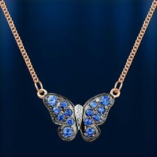 Russian solid rose gold 585 /14ct sapphire & diamond  necklace butterfly pendant