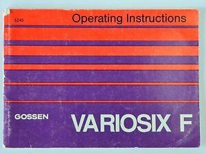 Gossen Variosix F Exposure Light Meter Operations Instructions Manual,