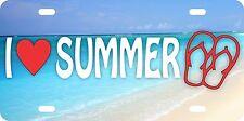 I Love Summer Aluminum License Plate Car Tag Auto Beach Hot Sun Fun Vacation