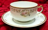 ANTIQUE LIMOGES HAVILAND & Co FRANCE CUP AND SAUCERS PINK ROSES GOLD TRIM 1876