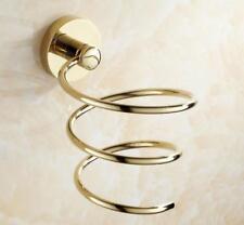 Wall Mounted Hair Dryer Stand Holder Blower Spiral Rack Hanger Organizer Brass