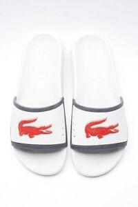 Lacoste Mens White Croco Slides TR13 CMA Casual Pool Slip On Slider Sandals