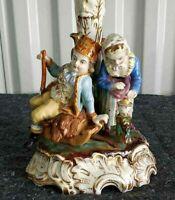 """Antique German Meissen Style Porcelain Figurine Candelabra, 10"""" H."""