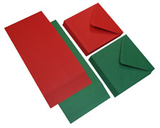 """40 x 5"""" x 5"""" RED & GREEN MIXED SQUARE BLANK CARDS ENVELOPES CHRISTMAS CRAFT 520"""