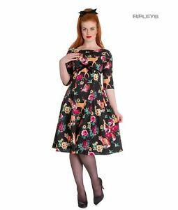 Hell Bunny 40s 50s Pin Up Vintage Dress HERMELINE Woodland Fox XS 8