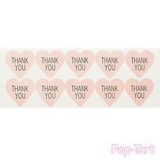 60 x Pink Thank You Heart Stickers DIY Scrapbooking Craft Labels Wedding Favours