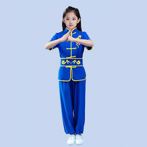 Martial Arts Uniform Chinese Kung Fu Tai Chi Suit Embroidery Wushu Short Sleeves