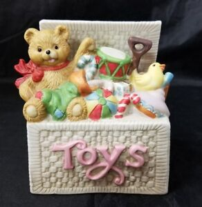 """Gift Gallery Ceramic Musical Toy Chest 4""""×3.25""""×5"""", Toy Box Teddy Bear Duck Drum"""
