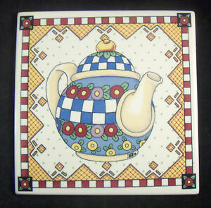 "Mary Engelbreit Large Teapot Trivet Tile Signed ME 8"" x 8"" Flowers"