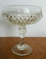 Vintage Indiana Glass Diamond Point Clear Pedestal Compote Candy Dish 7 1/4""