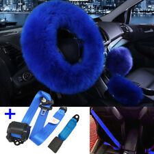 Blue Set Faux Wool Car Steering Wheel Cover + 3-point Safety Seat Belt Buckle