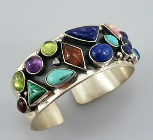 DTR JAY KING Sterling Silver Cuff Bangle Bracelet Turquoise Amethyst Amber Ladys