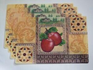 "4 Pc Red Apples Theme Vinyl Placemats 17.25"" x 11.5"" Kitchen Home Decor"