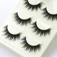 Luxurious 3D Multilayer False Eyelashes Cross Natural Long Lashes Makeup 3Pairs
