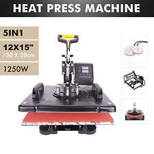 5 in 1 12x15 Heat Press Machine Digital Transfer Sublimation Machine Cap Hat Mug