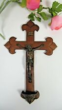 Antique Holy Water Font French Fleur de Lis Hand Carved Wood Christ Crucifix