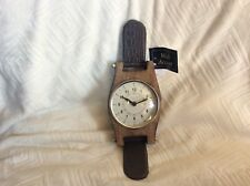 Cole & Grey Mango Wood & Faux Leather Wristwatch Style Table Clock