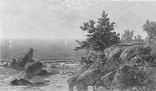 NEW ENGLAND OCEAN SEA COAST SHORE SAILBOATS ~ 1875 Seascape Art Print Engraving
