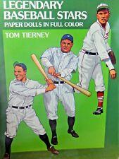 Tom Tierney Papier Poupées Legendary Baseball Stars Uncut En Complet Couleur