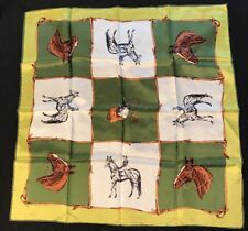 """Vintage Equestrian Hand Printed Rolled Edge 23"""" Scarf~Horses~Racing Derby"""