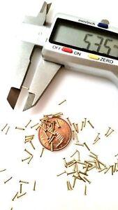 """400x #21 x 1/4"""" (0,8x6mm) Tiny Micro Samill Nails Solid Brass Escutcheon pins FH"""