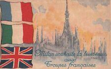 -Carte Postale ancienne Milan Milano ( Italie ) Bienvenue Troupes Françaises