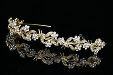 Gold Bridal Headpiece Rhinestones Crystal Wedding Headband Tiara V675
