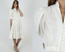 Vintage 70s Gold Floral Block Print Dress Western Pioneer Ivory Lace Midi Mini