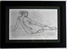 "Irving Amen ""Nude"" Framed Original Pencil Drawing on Paper Hand Signed"