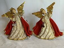 """A Pair Of Vintage Koestel Christmas Wax Angel Figurine Tree Topper With Tags 6"""""""
