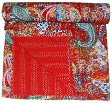 Indian Handmade Paisley Kantha Quilt King Size Bedspread Cotton Throw Blanket