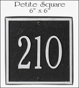 "Whitehall SQUARE Address Marker - Personalized Plaque Petite Size - 6"" x 6"""