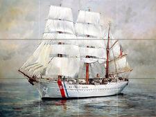 Art Ship Nautical Sailboat Ceramic Mural Backsplash Bath Tile #2196