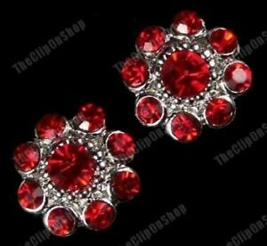 COMFY CLIP ON diamante RED CRYSTAL rhinestone BIG FLOWER EARRINGS round