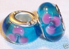 Aqua Blue Pink Flower Murano Glass Bead Gift for Silver European Charm Bracelets